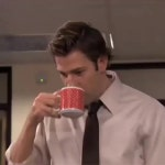 The Office S7E10 Dwight spills his coffee