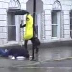 Banana slips on a man